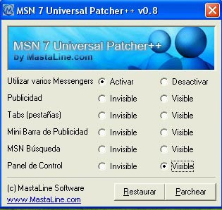 MSN 7 Universal Patcher (Polygamy y MultiMessenger para MSN Messenger)