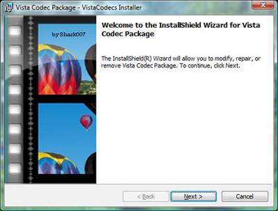 Vista Codec Package