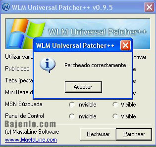 ejecutar WLM Universal Patcher  y parchar