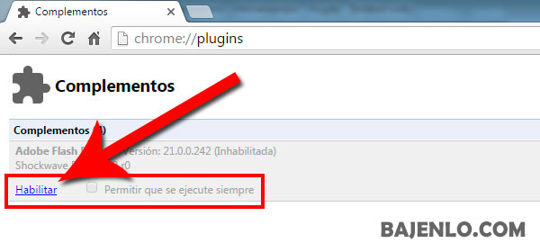 Habilitar adobe flash en chrome