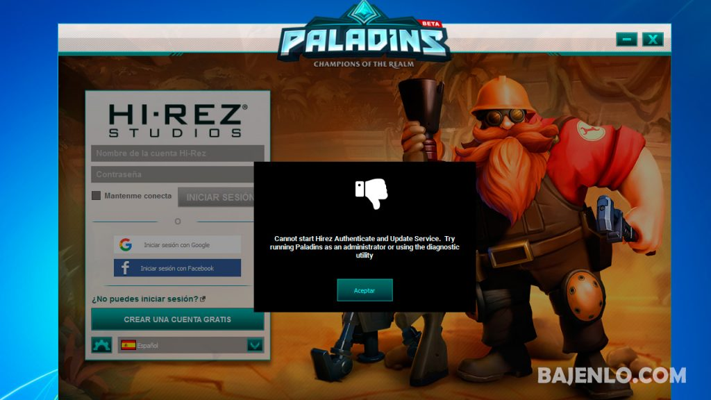Cannot start Hirez Authenticate and Update Service Try running Paladins as an administrator or using the diagnostic utility